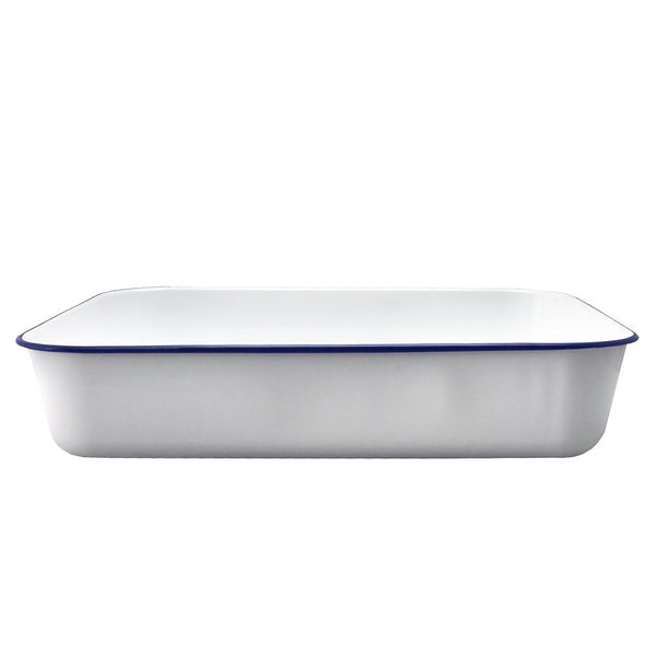 Falcon Enamel Deep Roasting Pan White with Blue Rim 41x31.5x8cm