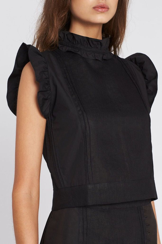 Celle Panelled Top - Black