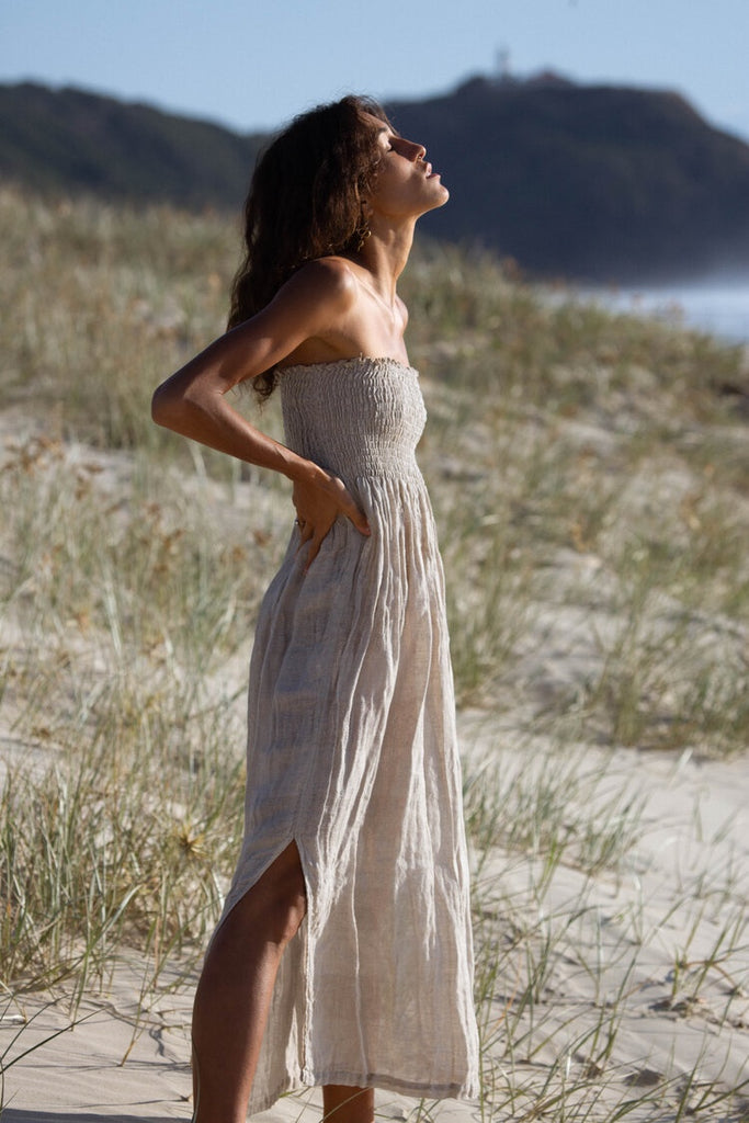 Natural Onda Aida Marianne Maxi Dress