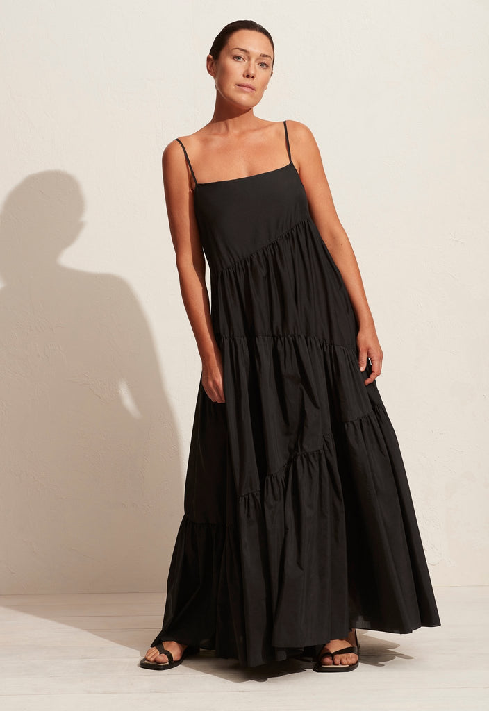The Asymmetric Tiered Sundress - Black