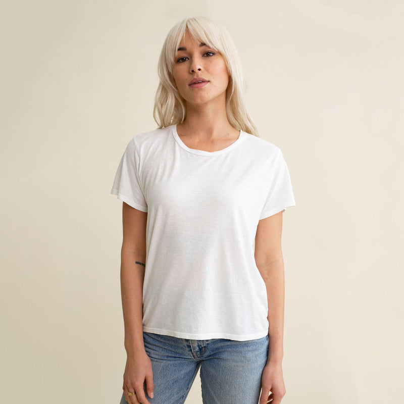 Ojai Cropped Tee - Washed White