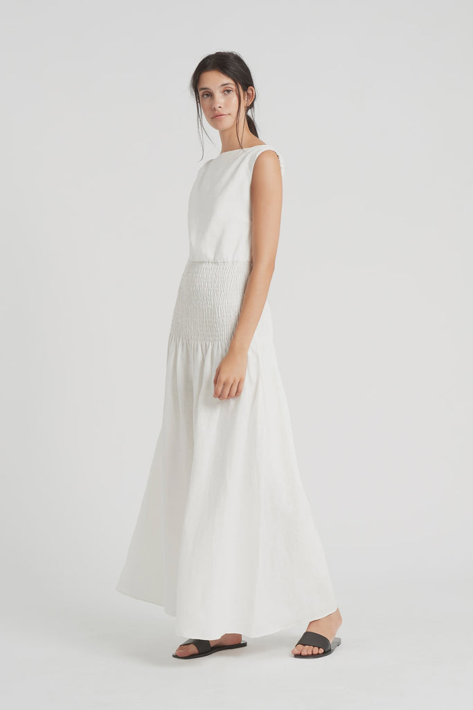 Lorena Open Back Maxi Dress - Ivory