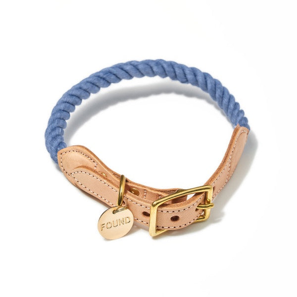 Rope and Leather Cat and Dog Collar- Blue Jean