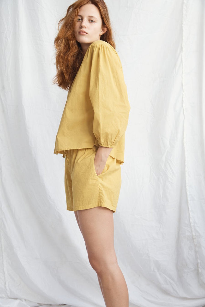 Cotton Drawstring Short - Mustard