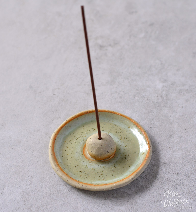 Ceramic Incense Holder - Speckled Green