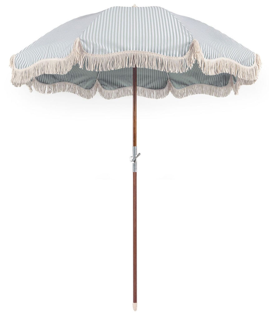 Premium Beach Umbrella - Laurens Stripe Sage