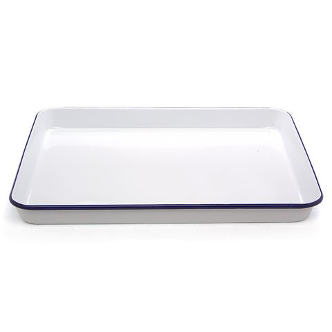 Falcon Enamel Rectangle Baking Tray 41x32cm - White Blue Rim