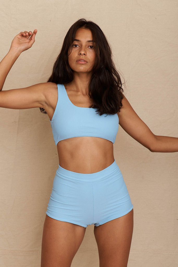 Dune Crop Top - Sea Blue Ribbed