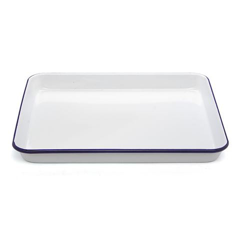 Falcon Enamel Rectangle Baking Tray 31x27cm - White Blue Rim