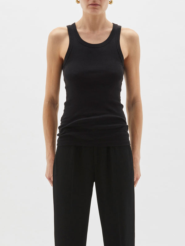 Superfine Rib Athletic Tank - Black