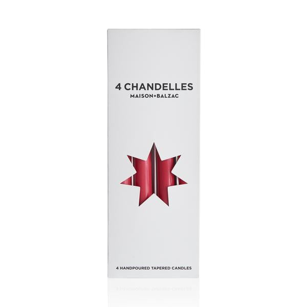 4 Chandelles - Tapered Candles - Fraise
