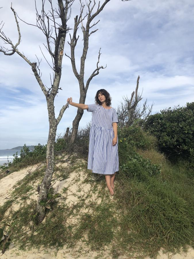 Fluidity Dress - Linen Stripe