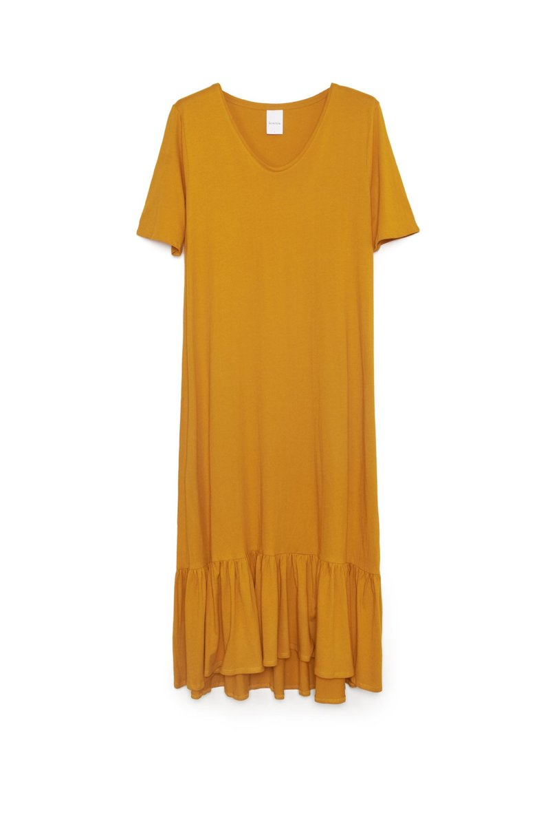 Building Block Gather Hem Dress - Amber