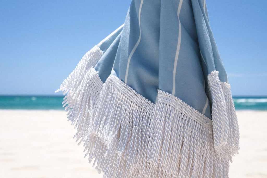 Holiday Beach Umbrella - Holiday Blue Stripe
