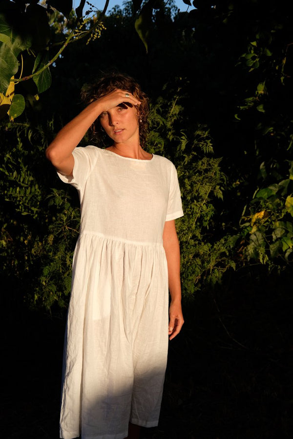 Fluidity Dress - White Hemp/Cotton