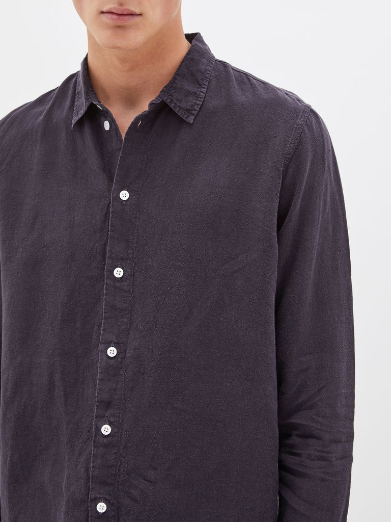 Linen LS Shirt - Navy