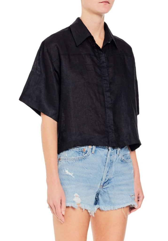 Noeme Cropped Linen Shirt - Black