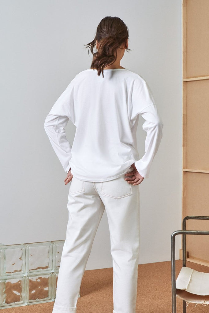 Building Block Relaxed Long Sleeve Top - White