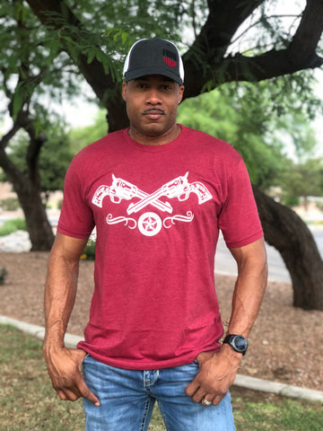 """Two Guns"" Men's FNDR T-Shirt - Cardinal Red"
