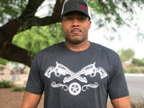 """Two Guns"" Men's FNDR T-Shirt - Charcoal Gray"