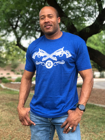 """Two Guns"" Men's FNDR T-Shirt - Royal Blue"