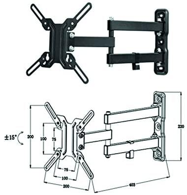 "TV WALL MOUNT WITH DUAL ARM: 26"" to 42""."