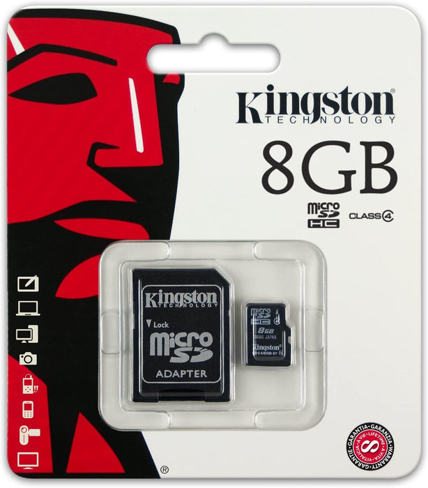 KINGSTON 8GB MICROSDHC CLASS 4 MEM + ADAPTER