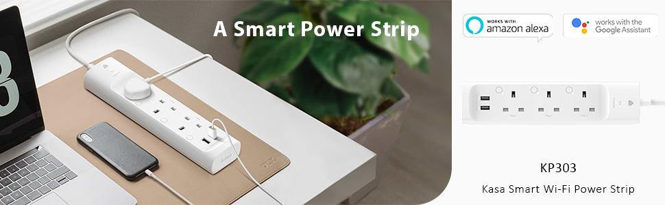 3 Outlets Smart WiFi Power Strip 2 USB