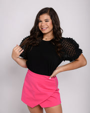 So Fancy - Black Puff Sleeve Top