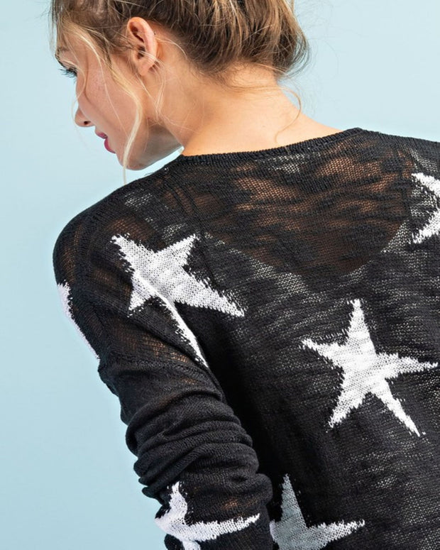 Oh My Stars - Black and White Star Cardigan