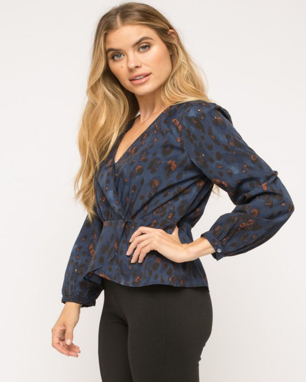 Animal Instincts - Blue & Rust Leopard Top