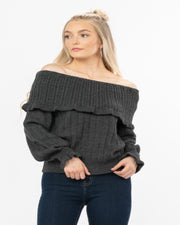 Charcoal Off Shoulder Sweater