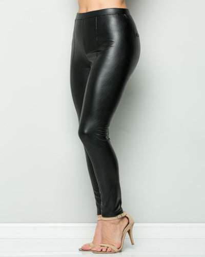 Not Your Average - Black Leather Pull On Pant