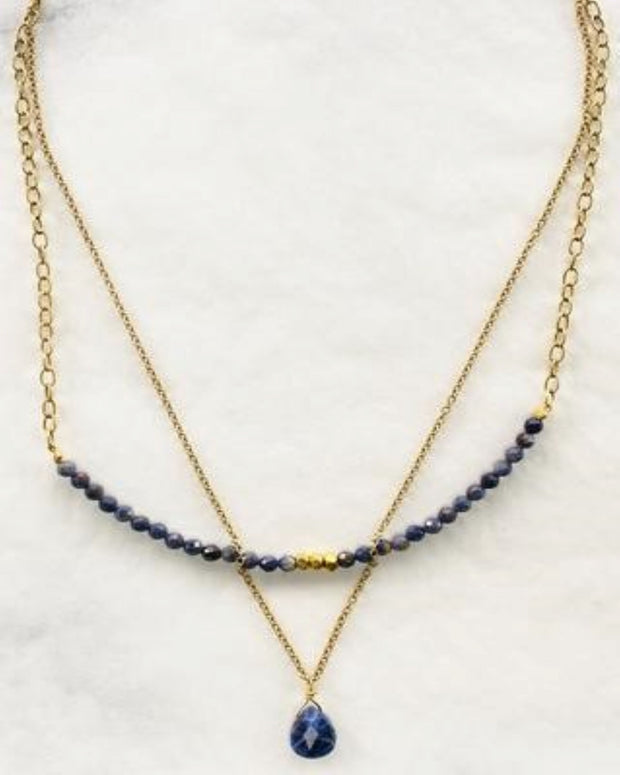 Frosted Flakes Beaded Double Strand Necklace
