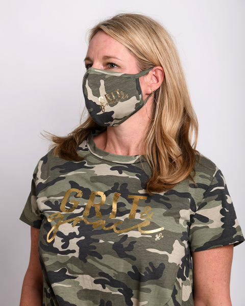 Camo Grit & Grace Face Mask