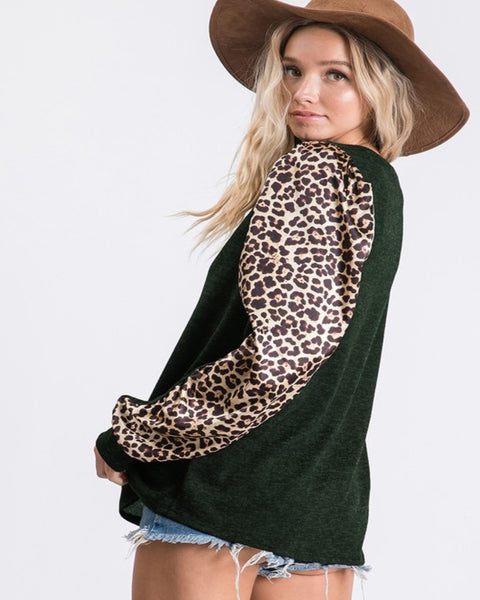 Puff Sleeve Leopard Top