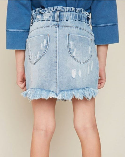 Little Miss - High Waist Denim Skirt