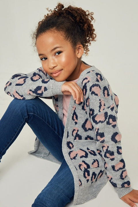 Little Miss Gray & Pink Leopard Cardigan