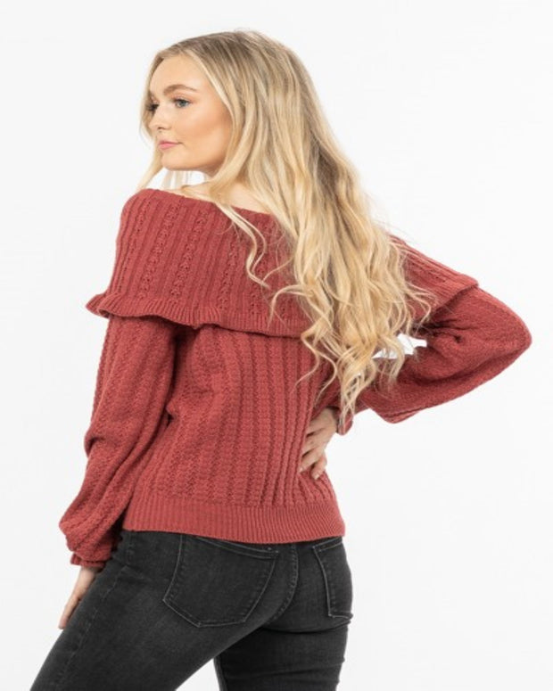 Feeling Girly - Off Shoulder Ruffle Sweater