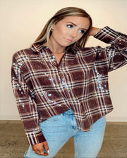 Maroon Plaid Sequin Top