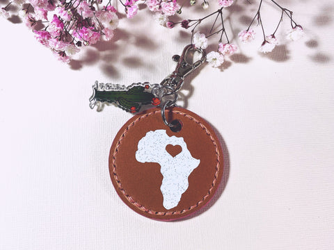 The complete Africa Hand Stitch Keychain completed.