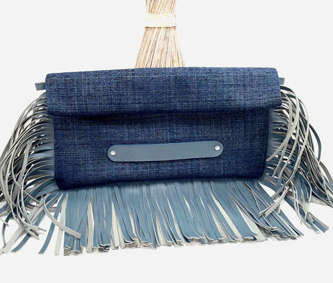 Oversized Fringe Clutch in Twill Blues