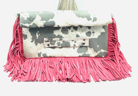 Cow Print Oversized Fringe Clutch in Leather