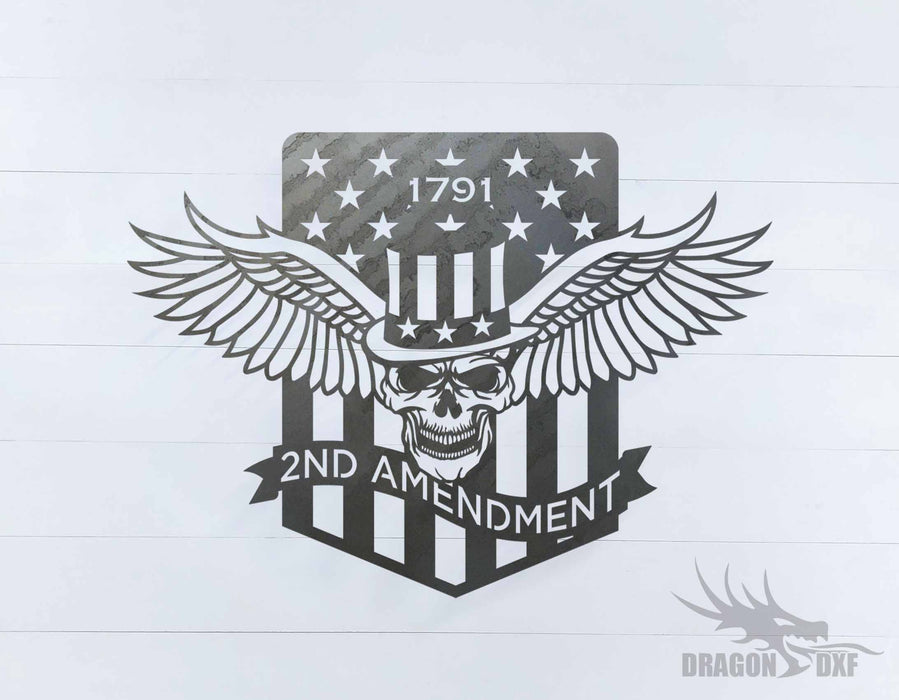 1791 2nd Amendment Skull sign - DXF Download