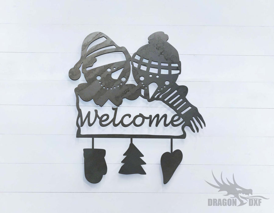 2 Snowmen Welcome Sign - DXF Download