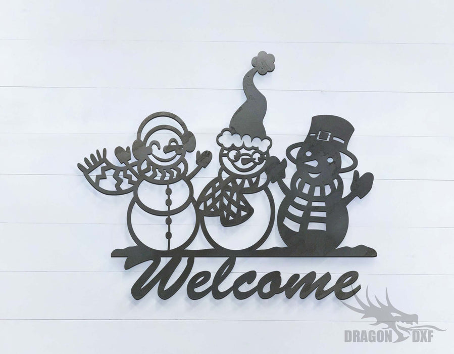 3 Snowmen Welcome Sign - DXF Download