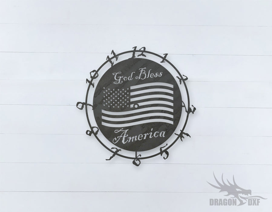 American Clock Design 4  - DXF Download