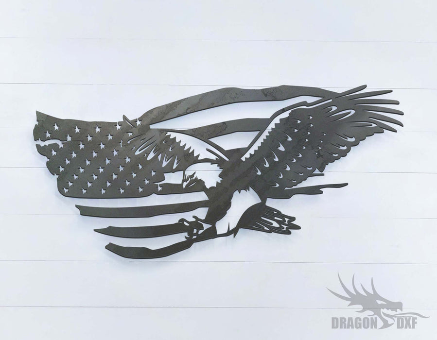 "36"" x 17"" American Eagle Flag - DXF Download"