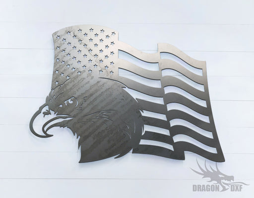 American Flag with Eagle (Left) -  DXF Download