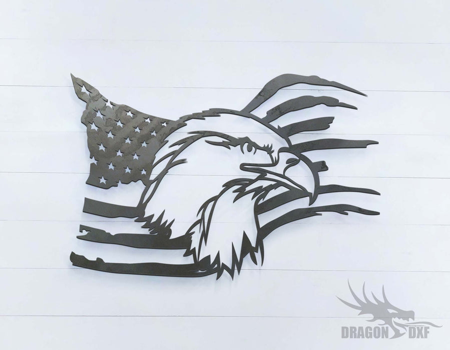 "36"" x 24"" American Eagle Flag - DXF Download"